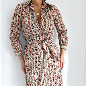Lanvin Paris Vintage Silk Geometric Print Dress